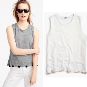 J. Crew White Linen Tank Top with Pom Poms